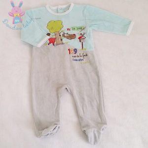 Pyjama velours bleu gris bébé garçon 6 MOIS LES CHATOUNETS