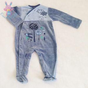 Pyjama velours bleu rayé bébé garçon 6 MOIS GRAIN DE BLE