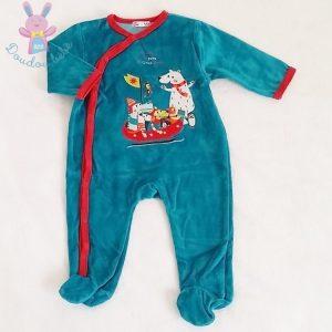 Pyjama velours bleu turquoise bébé garçon 6 MOIS DPAM