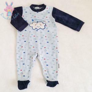 Pyjama velours bleu bébé garçon 6 MOIS ABSORBA