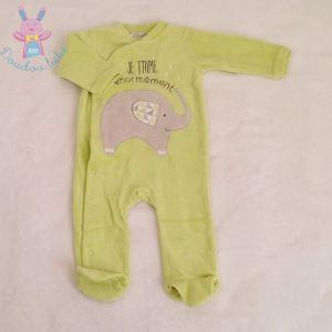 Pyjama velours vert éléphant gris bébé garçon 6 MOIS