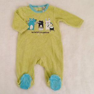 Pyjama velours vert et bleu bébé garçon 6 MOIS ORCHESTRA
