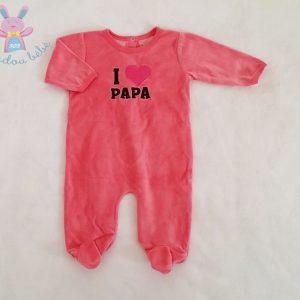 Pyjama velours rose «I love papa» bébé fille 6 MOIS