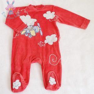 Pyjama velours rouge avion bébé garçon 9 MOIS