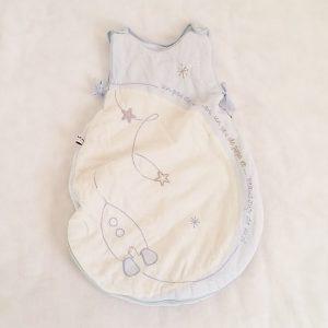 Gigoteuse molletonnée bleu blanc bébé 0/6 MOIS SAUTHON