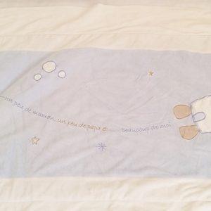 Couverture molletonnée bleu blanc fusée bébé SAUTHON
