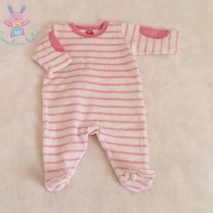 Pyjama velours rayé rose blanc bébé fille 1 MOIS PETIT BATEAU