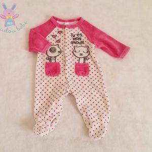 Pyjama velours blanc rose à pois «Tu es mon amour» bébé fille 1 MOIS
