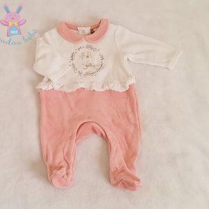 Pyjama velours blanc rose biche bébé fille 1 MOIS ORCHESTRA