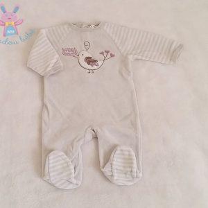 Pyjama velours gris et rayé oiseau bébé fille 1 MOIS