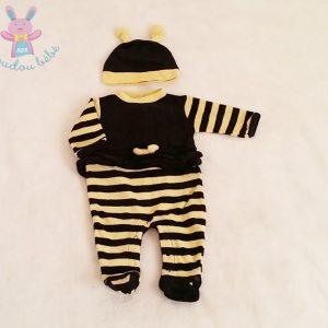 Pyjama velours abeille noir et jaune + bonnet bébé fille 1 MOIS
