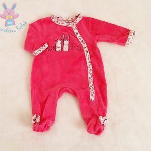Pyjama velours fuchsia bébé fille 1 MOIS PREMAMAN
