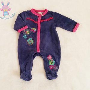 Pyjama velours bleu marine rose fleurs bébé fille 1 MOIS ORCHESTRA