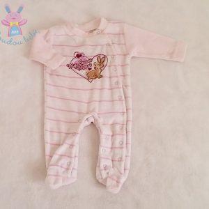 Pyjama velours rayé blanc rose coeur 0-2 MOIS LUPILU