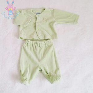 Pyjama velours vert bébé garçon 0/3 MOIS