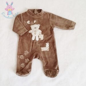 Pyjama velours marron Ours bébé garçon 0 MOIS POMMETTE