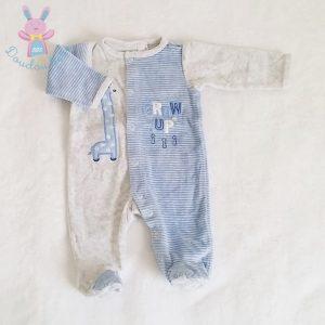 Pyjama velours gris bleu rayé bébé garçon 0 MOIS