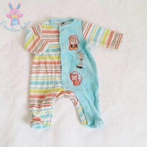 Pyjama velours bleu et rayé bébé garçon Naissance ORCHESTRA
