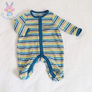 Pyjama velours rayé bleu bébé garçon 0 MOIS PREMAMAN