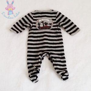 Pyjama rayé gris noir bébé garçon 1 MOIS