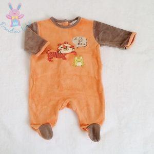 Pyjama velours orange marron Lion bébé garçon 1 MOIS