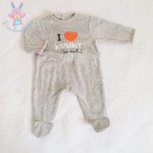Pyjama velours gris «I love mummy» bébé garçon 1 MOIS