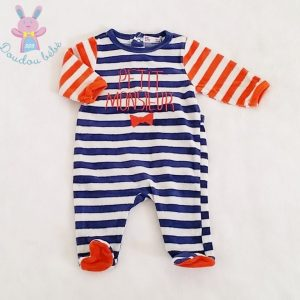 Pyjama velours rayé «Petit monsieur» bébé garçon 1 MOIS DPAM