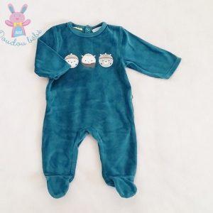 Pyjama velours bleu bébé garçon 1 MOIS OBAIBI