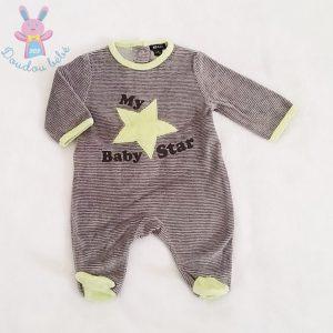 Pyjama velours rayé gris «My baby star» bébé garçon 1 MOIS