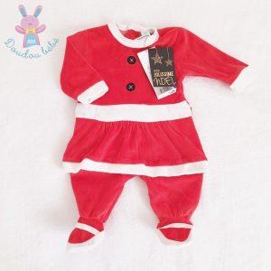 Pyjama robe velours rouge blanc bébé fille 1 MOIS