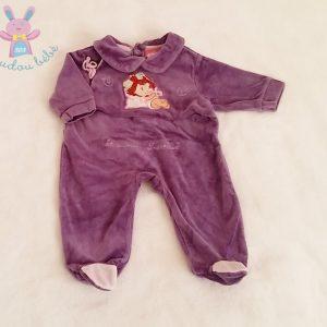 Pyjama velours violet Charlotte aux fraises bébé fille 1 MOIS