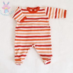 Pyjama velours rayé orange bébé garçon 1 MOIS PETIT BATEAU