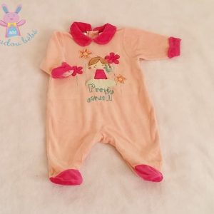 Pyjama velours saumon rose «Pretty garden» bébé fille 1 MOIS