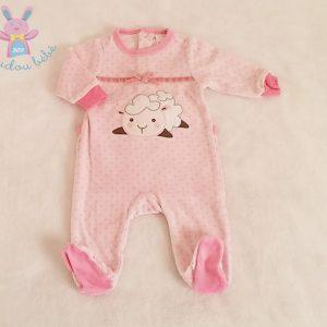 Pyjama velours rose à pois mouton blanc bébé fille 1 MOIS