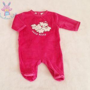 Pyjama velours fuchsia Hello Kitty bébé fille 1 MOIS