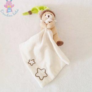 Doudou Ours beige bonnet vert mouchoir blanc étoiles luminescent BABY NAT