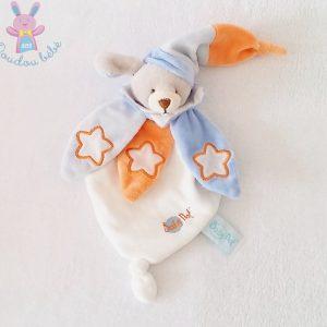 Doudou plat Chien gris blanc pétales orange bleu étoiles luminescent BABY NAT