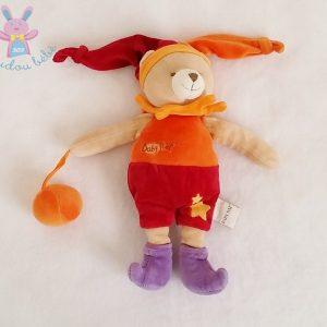 Doudou Ours arlequin orange balle BABY NAT