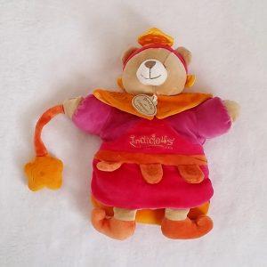 Doudou Marionnette Ours Indidous orange rose DOUDOU ET COMPAGNIE