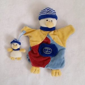 Doudou marionnette Canard et bébé bleu jaune DOUDOU ET COMPAGNIE