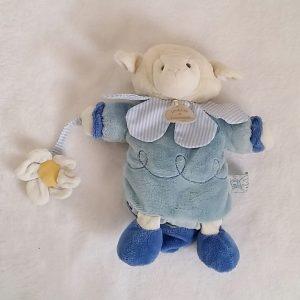 Doudou Marionnette Mouton bleu blanc fleur DOUDOU ET COMPAGNIE