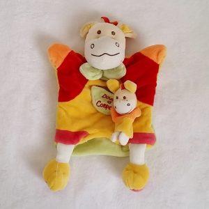 Doudou marionnette Cheval et bébé jaune rouge vert DOUDOU ET COMPAGNIE