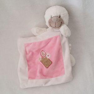 Doudou Ours blanc mouchoir rose 21 cm NICOTOY