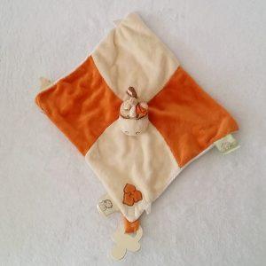Doudou plat Zèbre Cheval Zamba orange beige attache tétine NOUKIE'S