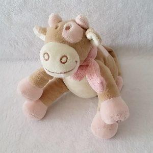 Doudou Vache Lola beige écru rose écharpe 18 cm assis NOUKIE'S