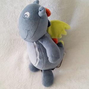 Doudou Dragon bleu grelot ailes verte ORCHESTRA