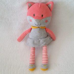 Doudou Chat rose gris rayé 26 cm OBAIBI