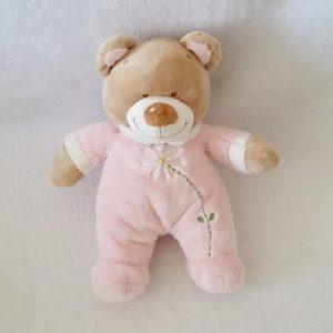 Doudou Ours beige rose fleur blanche 23 cm TEX