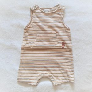 Combishort rayé beige blanc bébé garçon 6 MOIS OBAIBI