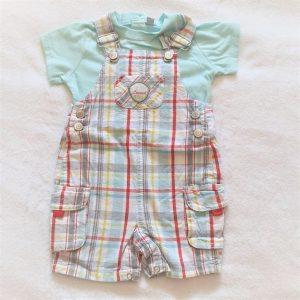 Ensemble salopette carreaux + t-shirt bébé garçon 6 MOIS